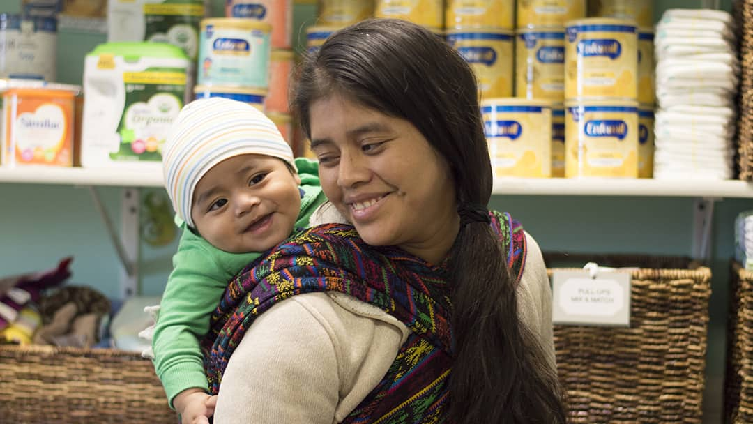 Client and Baby Smiling